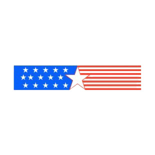 United States patriotic star and red stripes banner listed in symbols and history decals.
