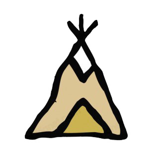 Native American teepee drawing listed in symbols and history decals.