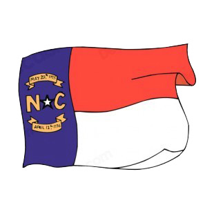 North Carolina state flag waving listed in states decals.