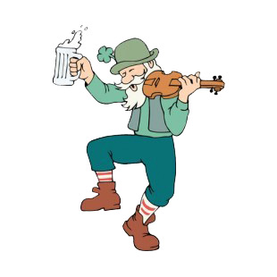 Man with beer mug and violin dancing listed in saint patrick's day decals.