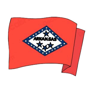 Arkansas state flag waving listed in states decals.