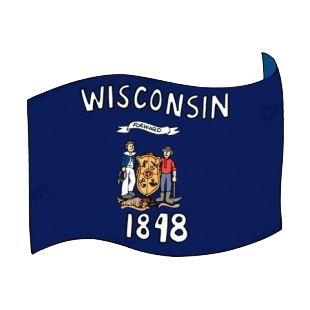 Wisconsin state flag waving listed in states decals.