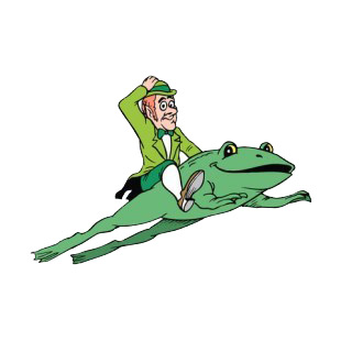 Leprechaun riding frog listed in saint patrick's day decals.