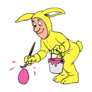 Man in yellow bunny custom paiting egg listed in easter decals.