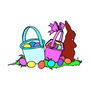 Easter baskets with chocolate bunny listed in easter decals.