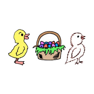 Yellow and white chicks with easter egg basket listed in easter decals.