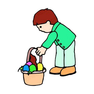 Boy picking up easter egg basket listed in easter decals.