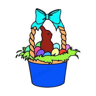 Easter egg basket with chocolate bunny listed in easter decals.