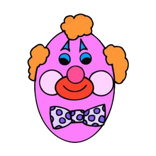 Egg decorated as clown face  listed in easter decals.