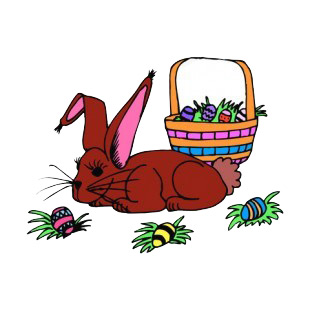Brown bunny with easter egg basket listed in easter decals.