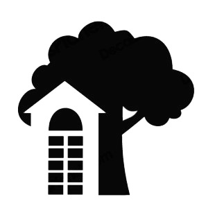 Real estate house and tree listed in buildings decals.