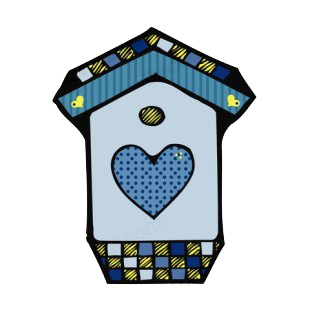 Blue birdhouse with blue heart listed in buildings decals.