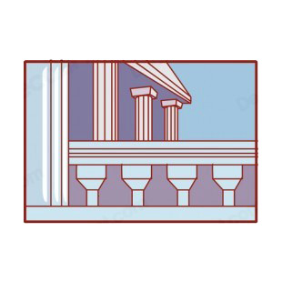 Blue and white columns listed in buildings decals.