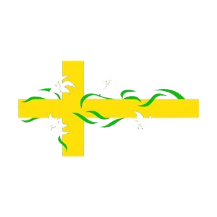Gold cross with white flowers listed in crosses decals.