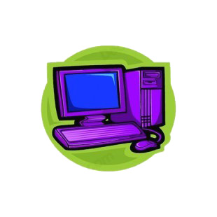 Purple computer monitor with tower and keyboard listed in business decals.