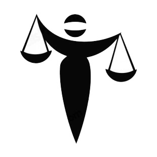 Law of justice women balance listed in business decals.