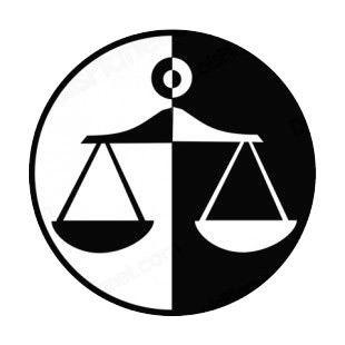Law of justice balance symbol listed in business decals.