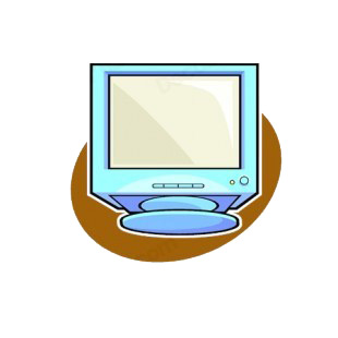 Blue CRT monitor listed in business decals.