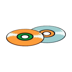 Orange and blue cd disc listed in business decals.