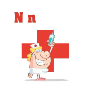 Alphabet N    smiling nurse with syringe listed in characters decals.