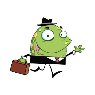Green monster in suit with suitcase going to work listed in characters decals.