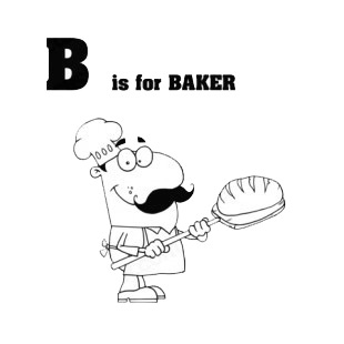 Alphabet B is for baker   baker with bread listed in characters decals.