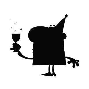 Man celebrating with glass of champagne silhouette  listed in characters decals.