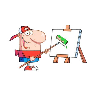 Man with hat and red shirt using roller on canvas listed in characters decals.