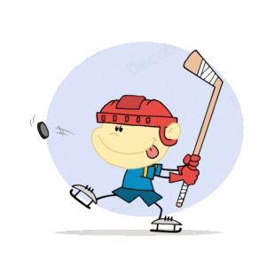 Boy with red helmet playing hockey blue backround listed in characters decals.