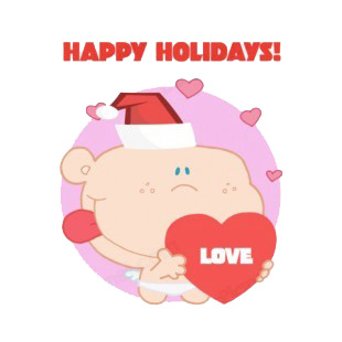 Happy holidays Cupid with santa hat holding heart  listed in characters decals.