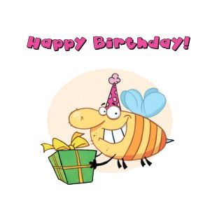 Happy birhtday bee with purple party hat carrying gift  listed in characters decals.