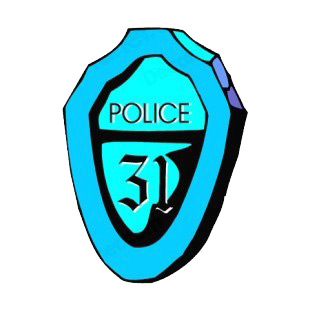Blue police precinct 31 badge listed in police and fire decals.