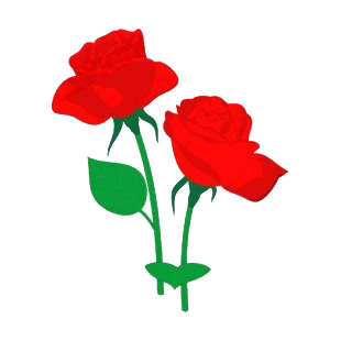 Red roses with leaves listed in flowers decals.