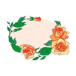 Orange roses with leaves backround listed in flowers decals.