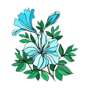 Blue hibiscus with leaves listed in flowers decals.