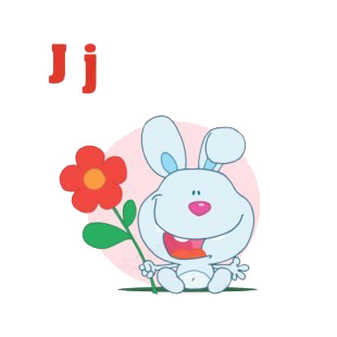 Alphabet J  bunny holding red flower pink backround listed in characters decals.