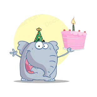 Elephant with party hat holding birthday cake  listed in characters decals.
