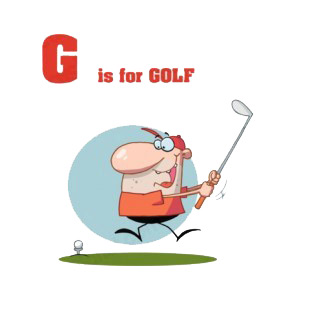 Alphabet G is for golf man swinging golf club  listed in characters decals.