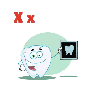 Alphabet X tooth with x-ray tooth picture  listed in characters decals.