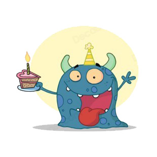 Blue monster celebrating birthday with cake  listed in characters decals.
