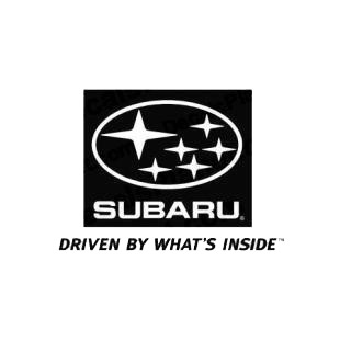 Subaru logo Driven by what's inside listed in subaru decals.