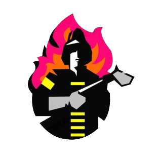Fireman with ax  flame backound drawing listed in police and fire decals.