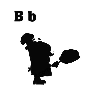 Alphabet B is for baker baker with bread silhouette listed in characters decals.