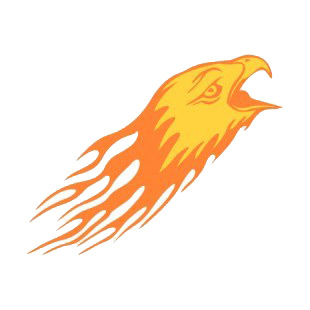 Flamboyant eagle head with beak open listed in flames decals.