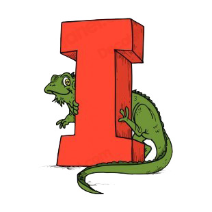 Alphabet red letter I iguana holding to letter listed in letters and numbers decals.