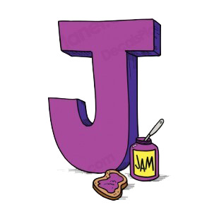 Alphabet purple letter J jam pot with toast with jam listed in letters and numbers decals.