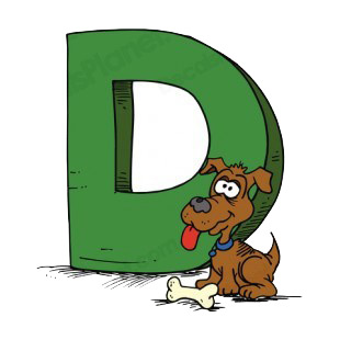 Alphabet green letter D brown dog with bone listed in letters and numbers decals.