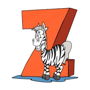 Alphabet orange letter Z zebra smiling listed in letters and numbers decals.
