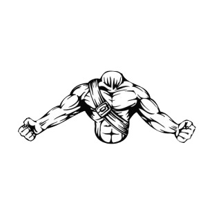 Muscular body with open arms and belt around chest mascot listed in mascots decals.