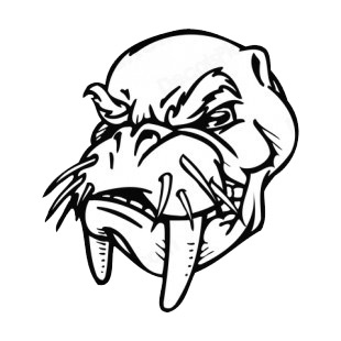 Walrus face with tusk and whiskers mascot listed in mascots decals.